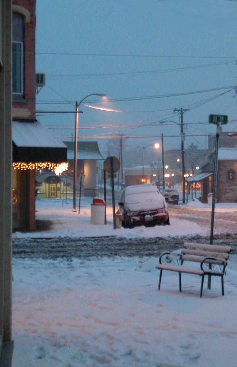 For some reason I really like the snowy bench up against the pole.  I need to do some retouching though where the photoshop job when bad.